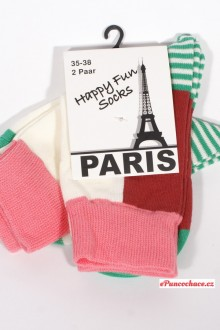 PARIS, NEW YORK happy fun socks 2páry - Sada dámských ponožek PARIS,NEW YORK